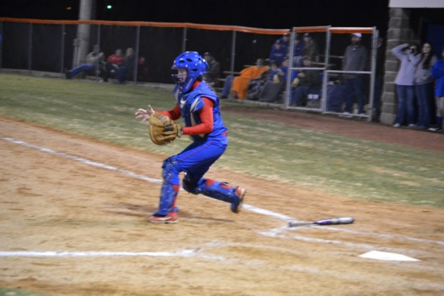 Morgan Kelly of Ingomar waits for the throw to the plate in Friday's game against North Pontotoc. Photo by Dennis Clayton.