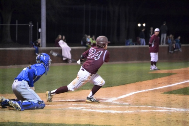 Grant Hogue's grounder was misplayed by Senatobia and allowed New Albany to score the winning run to take the division win. Photo by Dennis Clayton.