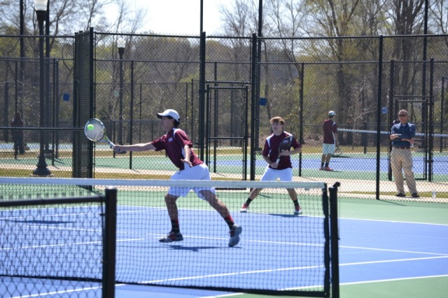 Trace Thompson and Christopher Shands were winners in boys doubles. Photo by Dennis Clayton.