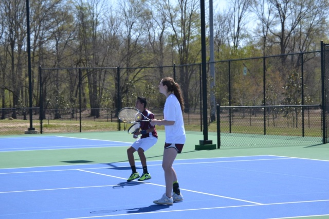 Roberto Valadez and Darby Mills won their mixed doubles match 6-0, 6-0. Photo by Dennis Clayton.