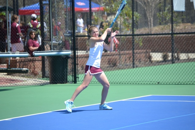 Morris Kelly Clayton won in girls singles play for New Albany. Photo by Dennis Clayton.