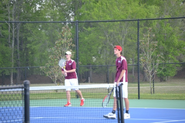 Parker Nail and Michael Crotts had a big win in boys doubles. Photo by Dennis Clayton.