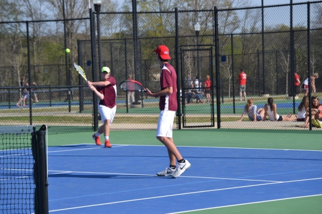 Parker Nail and Michael Crotts won their boys doubles match 6-0, 6-0. Photo by Dennis Clayton.
