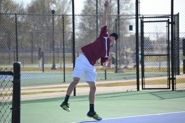 Mark Robbins was dominating in his boys singles tennis match, winning 6-0, 6-0. Photo by Dennis Clayton