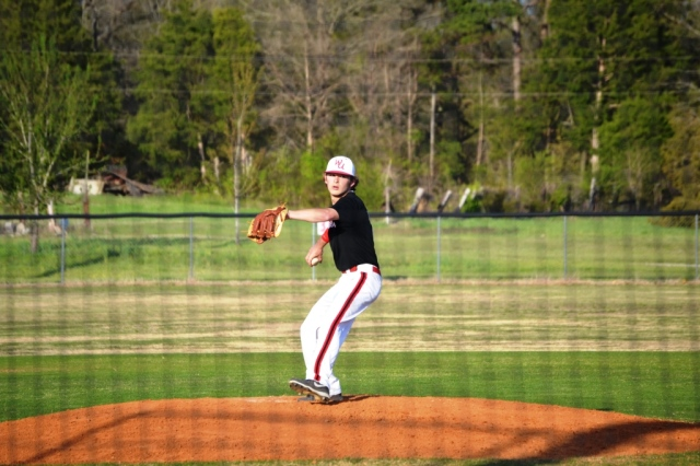 Hunter Jennings held Hickory Flat scoreless as West Union downed the Rebels in division play 10-0. Photo by Dennis Clayton.