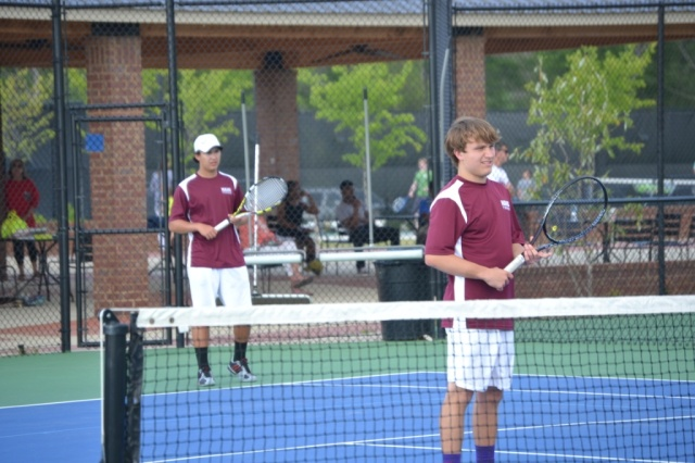 Trace Thompson and Christopher Shands won their match 6-1, 6-1. Photo by Dennis Clayton.