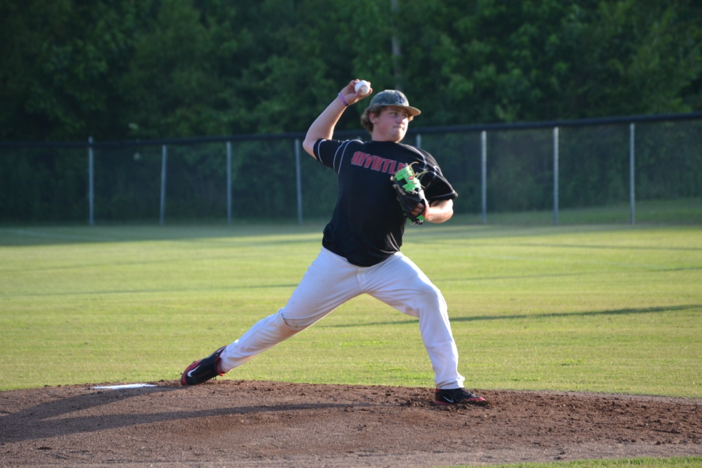 Brandon Perkins threw three innings of shutout ball for Myrtle to lead the Hawks past Potts Camp on Tuesday. Photo by Dennis Clayton.