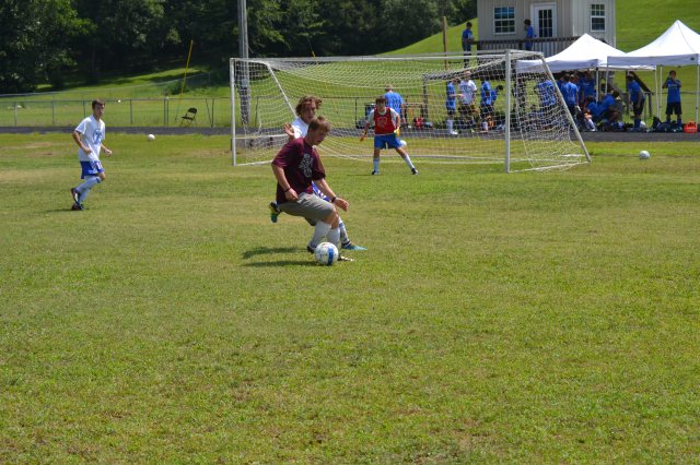 Zach McDonald of New Albany controls the ball in front of the Tupelo goal during Monday's match at Pontotoc. Photo by Dennis Clayton.