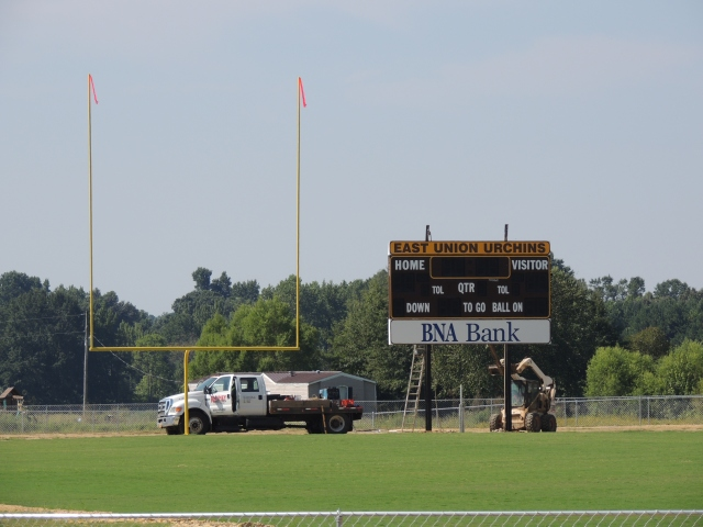 East Union's new scoreboard was installed on Wednesday in the south end zone. Photo by Dennis Clayton.
