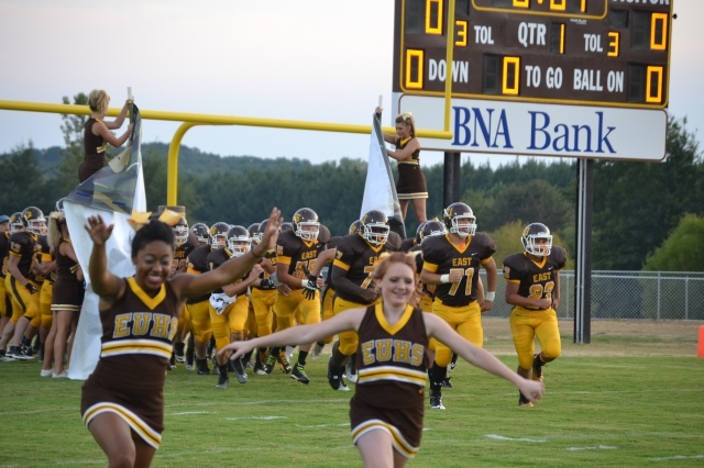 East Union runs out for the first time on the new field. Photo by Dennis Clayton