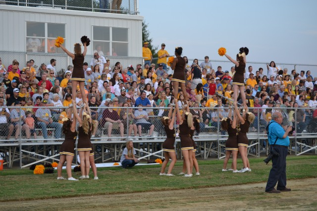 East Union packed the stands and the cheerleaders cheered as the Urchins opened their new stadium. Photo by Dennis Clayton.