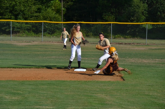 Rebecca Sheffield is safe at second during the game against Falkner on Tuesday. Photo by Dennis Clayton.