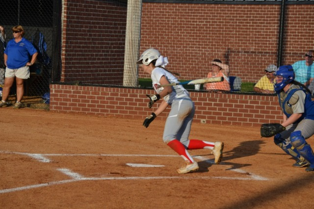 Jesslyn Brewer had a big day at the plate on Monday, going 4-4 and scoring the winning run. Photo by Dennis Clayton.