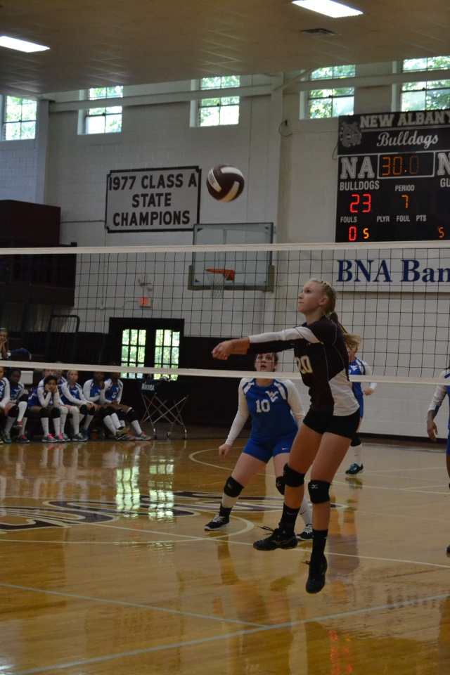 Mary Day sets for Emma Wilson during New Albany's jamboree win over Water Valley on Saturday. Photo by Dennis Clayton.