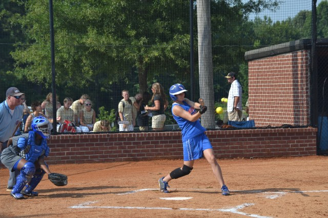 Lauren Thompson of Ingomar singles and drives a run against Oxford on Saturday. Thompson went 3-5 with two doubles and six RBIs in two games. Photo by Dennis Clayton.