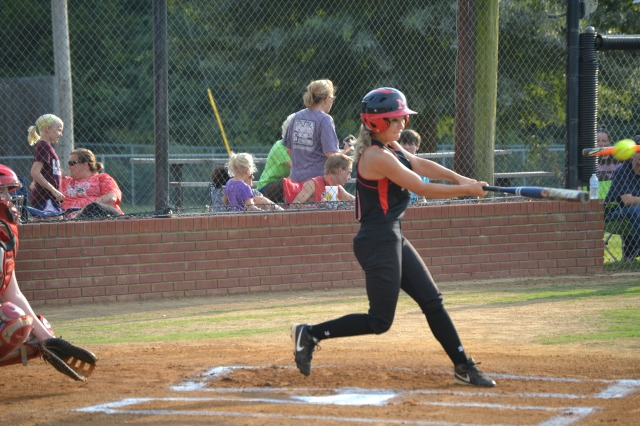 Amber Cook had three hits and 2 RBIs in Myrtle's 8-2 division win over West Union on Thursday. Photo by Dennis Clayton.