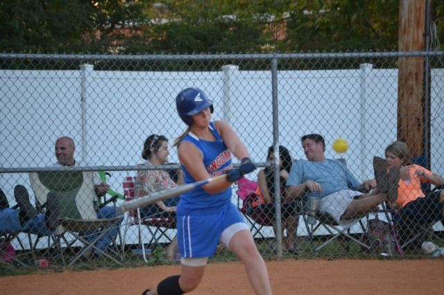 Morgan Gooch had three hits and two RBIs for the Lady Falcons. Photo by Dennis Clayton.