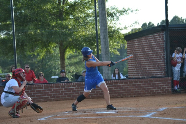 Morgan Gooch singles for Ingomar during their big second inning against West Union. Gooch later scored on Carson Grisham's two RBI single. Photo by Dennis Clayton.