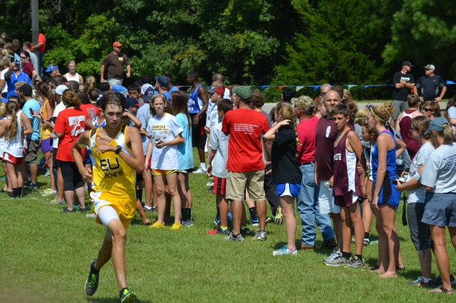 East Union's Hunter Nobles finished eighth in 1-3A boys with his time of 18:25.39. Photo by Dennis Clayton.