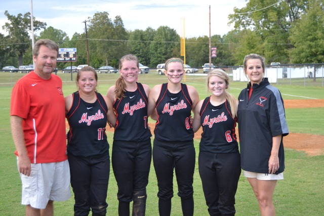 Four seniors were recognized on Thursday at Myrtle, standing from left: Head Coach Marty Cook, Lauren Coggin, Ashton Hogue, Kellan Tanner, Haley Matkins and Assistant Coach Kelly Robbins. Photo by Dennis Clayton.