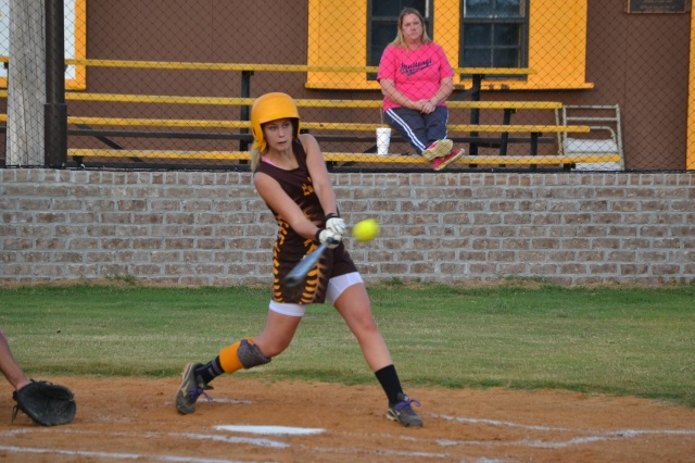 Kallie Roberts gets a lead-off double for East Union on Tuesday. Photo by Dennis Clayton.
