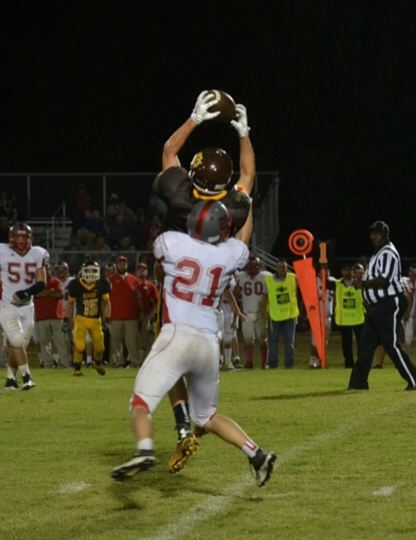 Lane Plunk goes high to catch this Zane Wilkinson pass against New Site. Photo by Dennis Clayton.