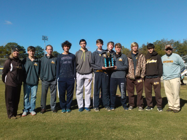 East Union boys won first at the 1-2A Regional cross country meet on Saturday. Team members pictured (not in order): Jordon Salmon, Hunter Nobles, Joey Pace, Zach Rowan, Zac Cisowski, John Wicker, Chance Betts, Steven Ragsdale, Izaiah Rich. Also pictured are head coach Nathan McLellan and assistant Jennifer Bruce. Photo submitted by Shone Nobles.