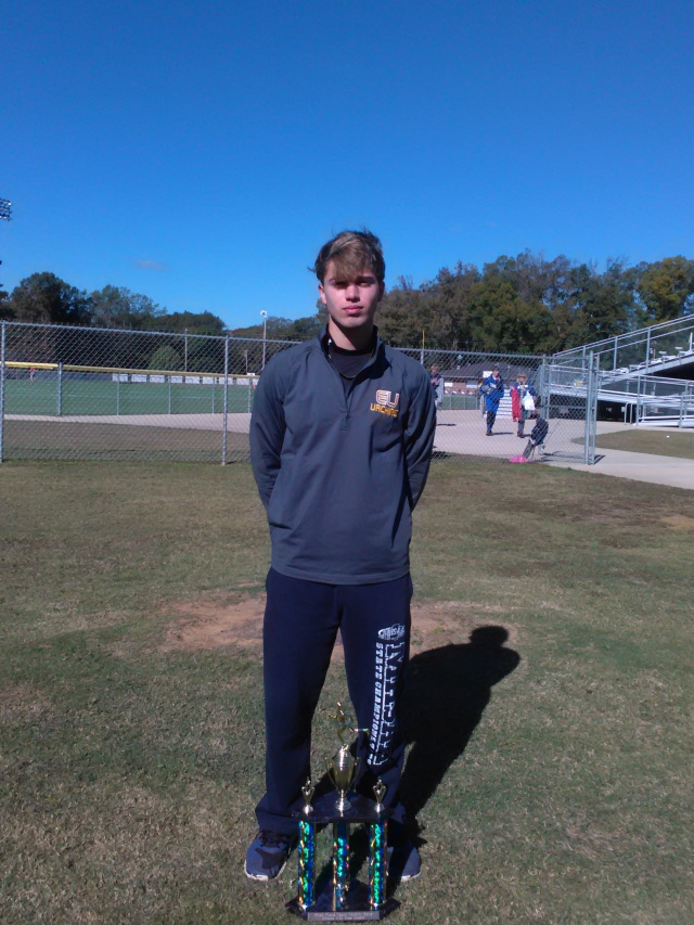Jordon Salmon won the overall boys individual title at the 1-2A Regionals with a time of 16:23.00. Photo submitted by Shone Nobles.