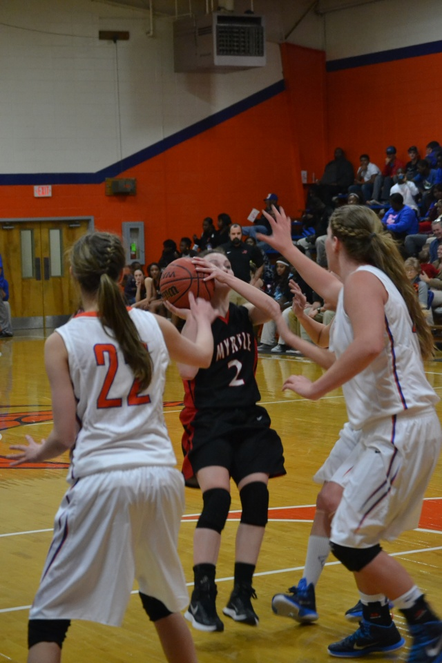 Presley Goolsby shoots this shot from the lane to score two of her nine first half points on Thursday. Photo by Dennis Clayton.