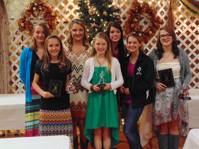 Girls Cross Country awards from left: Sarah Duley, Delani Akin, Maggie Meinz, Mary Kate Nobles, Karmon Skelley, Ally Cisowski and Hannah Courtney.