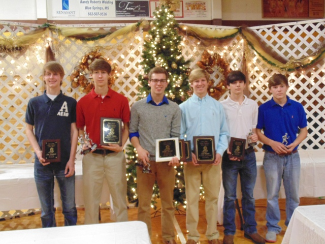 Boys Cross Country awards from left: Zac Cisowski, Hunter Nobles, Jordan Salmon, Zach Rowan, Joey Pace and Chance Betts.