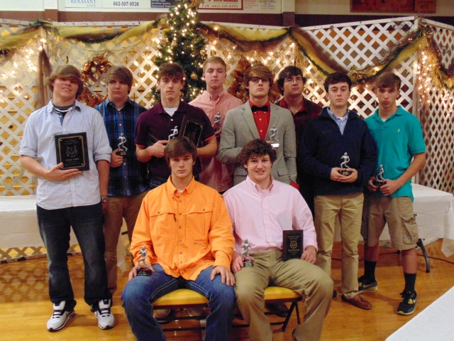 Football awards front left: John Isaac Roberts and Josh Whitenton. Back left: Jesse Keller, Bailey Spruill, Lane Plunk, Cody Taylor, Thomas Moore, Lucas Wigington, Zane Wilkinson and Dallas Wooten.