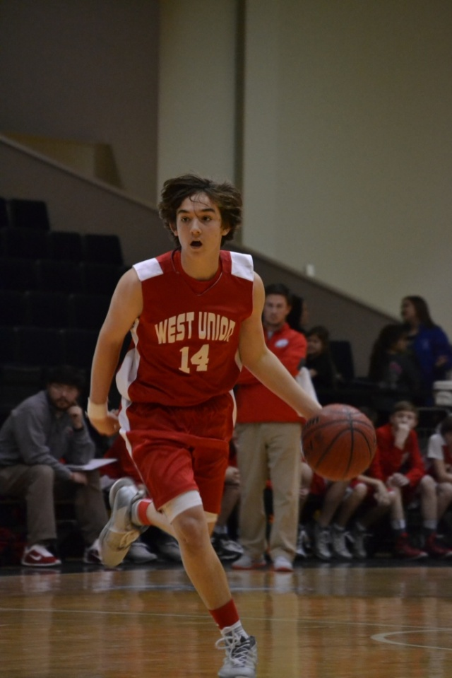 Ryder Willard of West Union led all scorers with 21 points. Photo by Dennis Clayton.