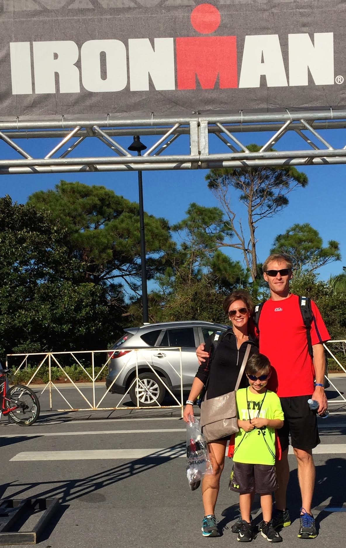 Robert and Sarah Garrett with their son Everett at the Ironman Triathlon. Photo submitted.
