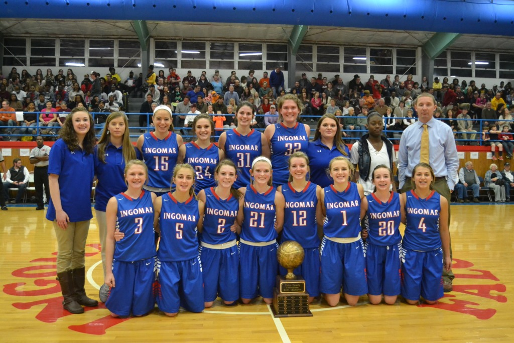 Ingomar Lady Falcons are the 2015 Union County Tournament Girls Champions. Front left: Abby Deaton, Lauren Wooley, Gara Beth Self, Maggie Smithey, Lindsay Hall, Sydney Roberts, Ashley Forester, and Carson Grisham. Standing left: Morgan Nance, Abbie Williams, Allie Williams, Hope Mason, Lauren Thompson, Mallory Russell, Laura Hogue, Jakayla Banks and Coach Trent Adair.