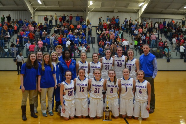 Ingomar Lady Falcons 2-1A Tournament Champions front left: Ashley Forester, Allie Williams, Maggie Smithey, Gara Beth Self, Sydney Roberts, Carson Grisham. Back: Morgan Nance, Laura Hogue, Abbie Williams, Abby Deaton, Dylan Reeder, Jakayla Banks, Lauren Wooley, Hope Mason, Lauren Thompson, Mallory Russell, Lindsay Hall, Coach Trent Adair. Photo by Dennis Clayton.