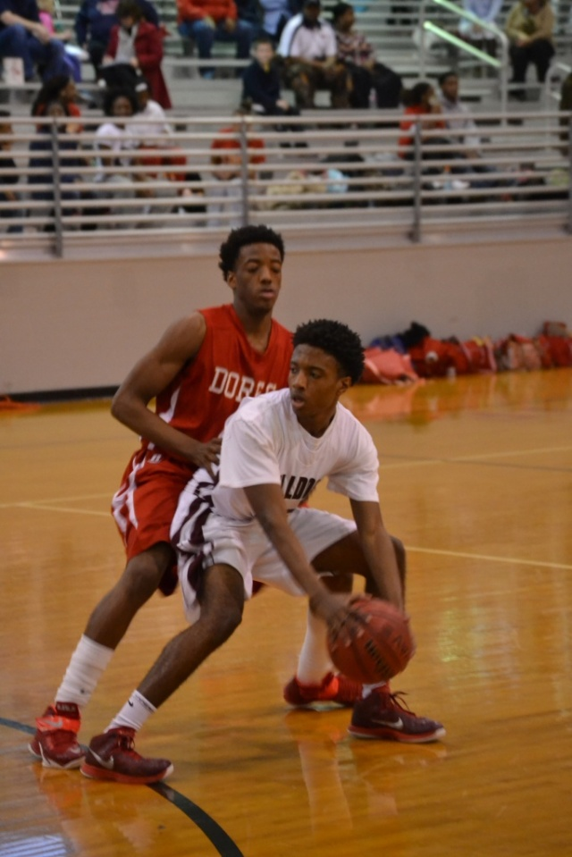 Antravon Graham is closely guarded by the Lafayette defender. Photo by Dennis Clayton.