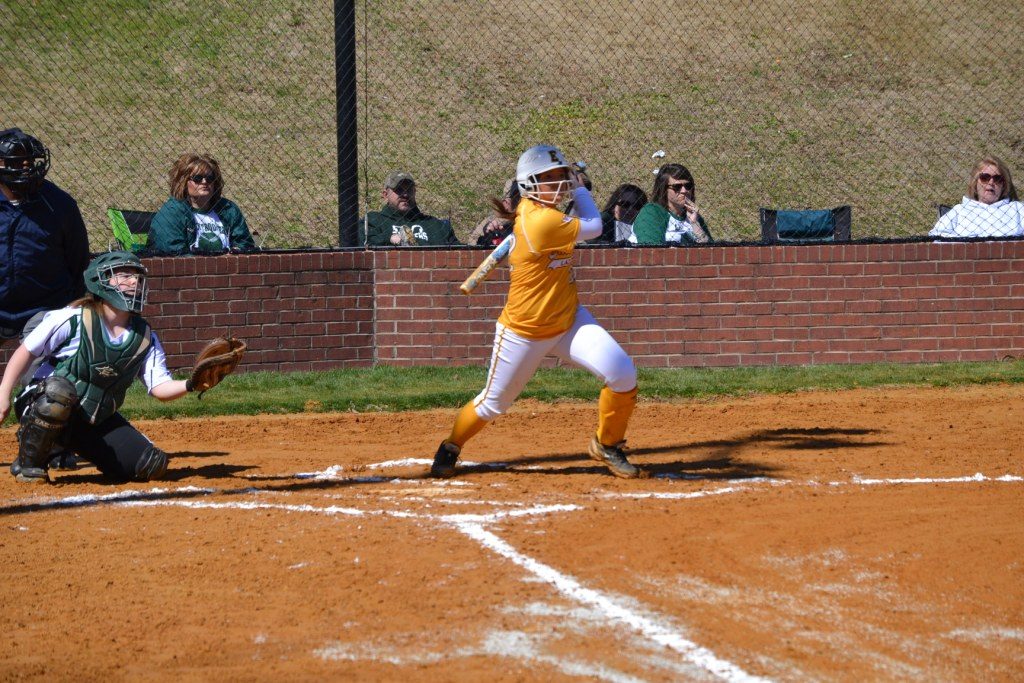 Callie Frazier singles and drives in the East Union run. Photo by Dennis Clayton.