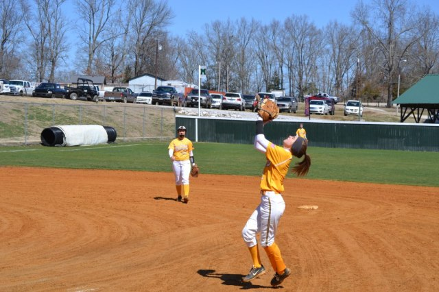 Emily Bruce catches the popup on the infield as Rebecca Sheffield looks on from short. Photo by Dennis Clayton.
