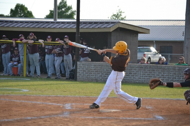 Zane Wilkinson leads off the East Union first with his double. Wilkinson later scored the first Urchin run. Photo by Dennis Clayton.