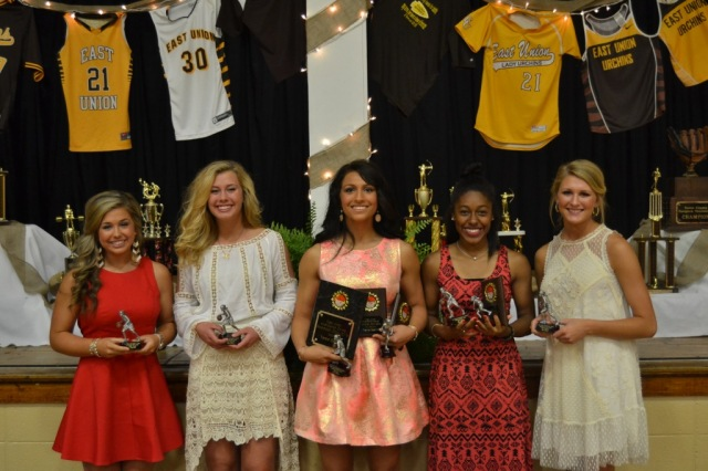 Girls Basketball from left: Calla Basil, Kallie Roberts, Tianna Castillo, Denira Shawver, Katie Rowan.