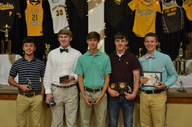 Boys Basketball from left: Zane Wilkinson, Ty McDonald, Hunter Nobles, Lane Plunk, Jacob Pilcher.