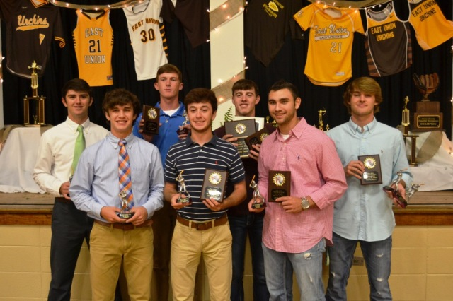Baseball from left: Cade Bell, Joel Wilkinson, Witt Roaton, Zane Wilkinson, Lane Plunk, Jacob Raines, Thomas Moore.