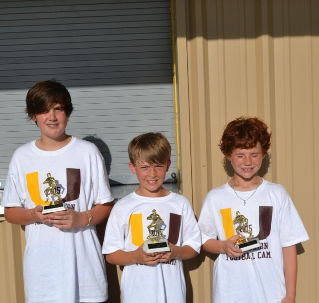 Collin Stephens – good hands award, Jude Treadaway & Ty Walton - tied for skills champ, Ty Walton – punt, pass and kick champ for fifth and sixth grade group.