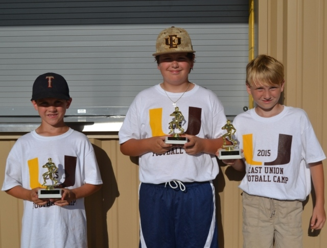 Hagen White – skills champ, Ben Basil – punt, pass and kick champ, Ian Nicholson – good hands award for third and fourth grade group.