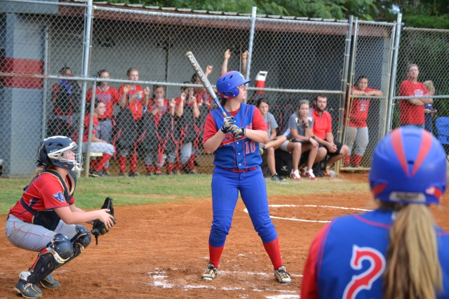 Morgan Gooch led the Lady Falcons with four RBIs on Tuesday. Photo by Dennis Clayton.
