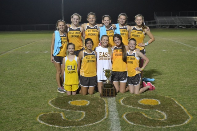 East Union girls won the 2015 Union County XC title on Thursday. Photo by Dennis Clayton.