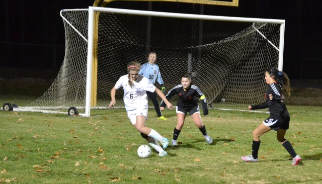 Sanders Goode works the ball in the box during an earlier Corinth match. file photo.